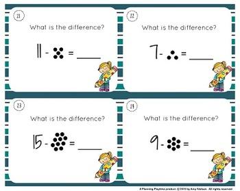 1st Grade Task Cards - Dot Subtraction Math