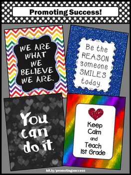 1st Grade Classroom Posters, Inspirational Quotes Posters Classroom Decor BUNDLE