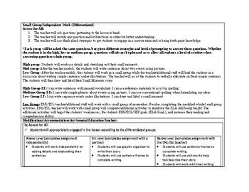 1st Grade Teachers College Small Moment/Narrative Writing Unit 1 ch.14 Lesson