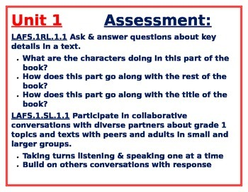 1st Grade Year-Long Unit 1-6 Strategies,Goals & Assessments for Reading Workshop