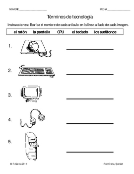 1st grade technology terminolgy worksheet spanish by rosa ana garcia. Black Bedroom Furniture Sets. Home Design Ideas