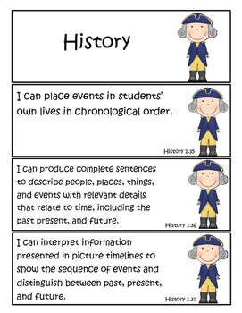 """1st Grade Tennessee Social Studies Standards """"I Can"""" Statements!"""