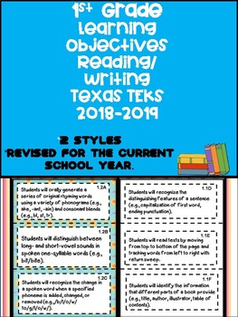 1st Grade Texas TEKS Math Learning Objectives Cards