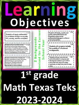 1st Grade Texas TEKS Math Learning Objectives Cards Polka Dots