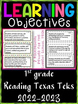 1st Grade Texas TEKS Reading/ Writing Learning Objectives Cards