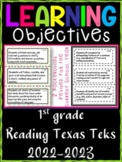 1st Grade Texas TEKS Reading/ Writing Learning Objectives Cards | Color and B&W