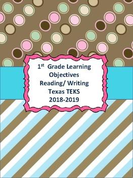 1st Grade Texas TEKS Reading/ Writing Learning Objectives Cards Polka Dots