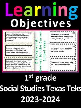 1st Grade Texas TEKS Social Studies Learning Objectives Cards