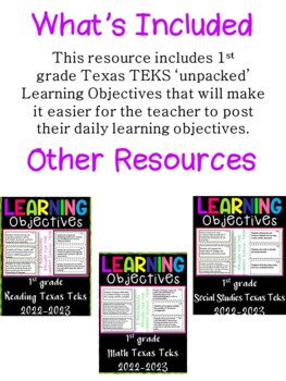 1st Grade Texas TEKS Social Studies Learning Objectives Cards | Color & B&W