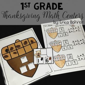 1st Grade Thanksgiving Math Centers
