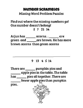 1st Grade Thanksgiving Number Puzzles