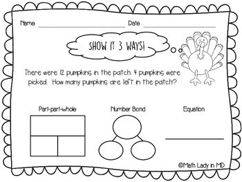 1st Grade Thanksgiving Word Problems - Show It 3 Ways!