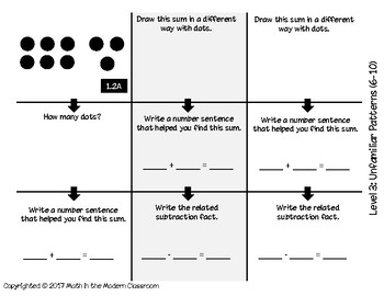 1st Grade Tic-Tac-Toe 1.2A- Familiar and Unfamiliar Patterns (subitizing)