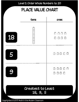 1st Grade Tic-Tac-Toe 1.2F- Order Whole Numbers