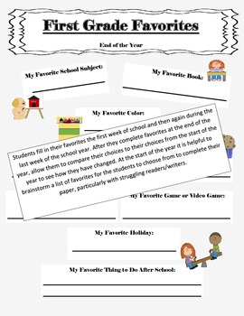 1st Grade Time Capsule Beginning/End of Year Activity ~ Writing Sample + More