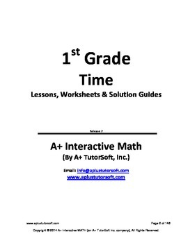1st Grade Time Lessons, Worksheets, Solution Manuals