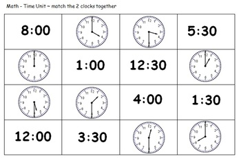 1st Grade Time Unit Hand Outs