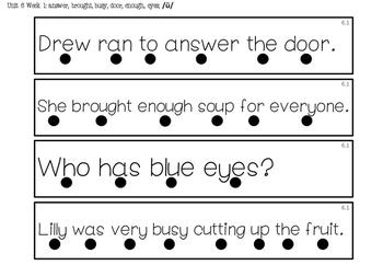 1st Grade *Tracking Sentences* Wonders Aligned Unit 6
