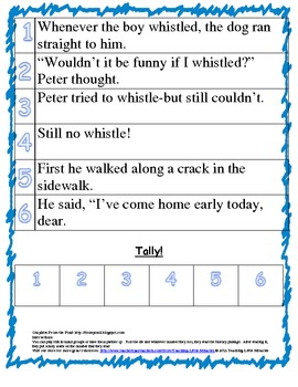 1st Grade Treasures Reading roll and read fluency Unit 6 Week 2