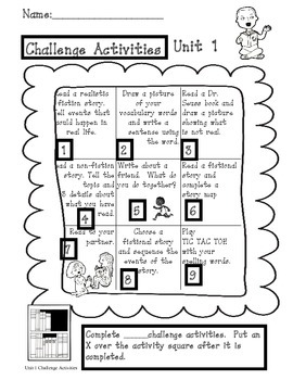 1st Grade Treasures Unit 1 Challenge Activities