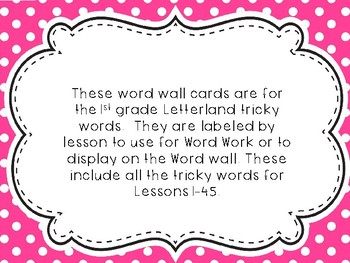 1st Grade Tricky Words for the Word Wall