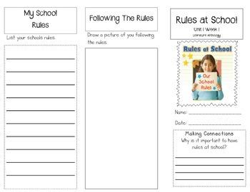 1st Grade UNIT 1 WEEK 1- At School: Brochure Bundle McGraw Hill Wonders Edition