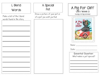 1st Grade UNIT 1 WEEK 3- OUR PETS: Brochure Bundle McGraw Hill Wonders Edition