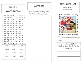 1st Grade UNIT 2 WEEK 1- Jobs Around Town: Brochure McGraw Hill Wonders Edition