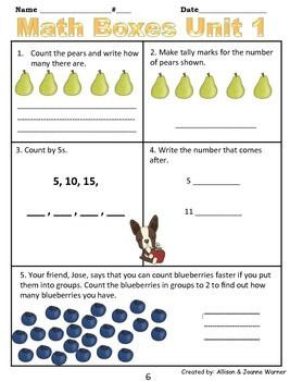 1st Grade Unit 1 Everyday Math ~ Numbers & Routines