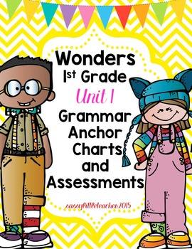 1st Grade Unit 1 Wonders Grammar Charts and Assessments