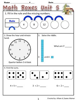 1st Grade Unit 5 Review Everyday Math ~ Place Value and Number Stories