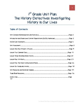 1st Grade Unit Plan: The History Detectives: Investigating History in Our Lives