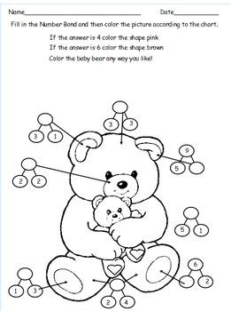 1st Grade Valentine's Day Color by Number Bond / Eureka Math Based