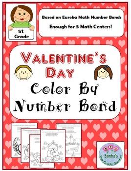 1st Grade Valentine's Day Color by Number Bond / Eureka Ma