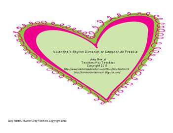 1st Grade Valentine's Rhythm Dictation or Composition Freebie!