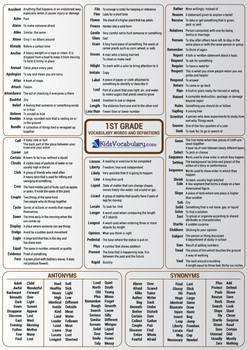 """1st Grade Vocabulary """"Infographic Format"""""""