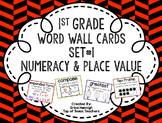 1st Grade Vocabulary Word Wall Cards Set 1:  Numeracy and Place Value TEKS