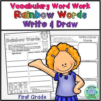 1st Grade Vocabulary Word Work with Nouns Verbs and Adjectives