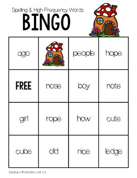 BINGO 1st Grade WONDERS Spelling & High Frequency Word  Unit 3