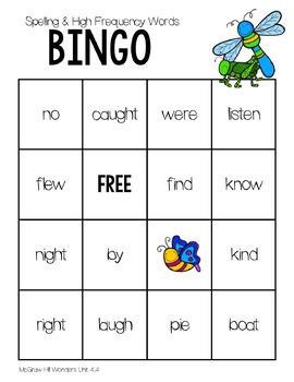 BINGO  1st Grade WONDERS  Spelling & High Frequency Word Unit 4