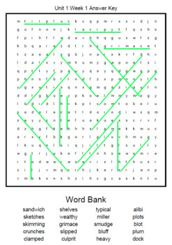 1st Grade WONDERS Spelling Word Search and Scramble -- Unit 5 (Differentiated)