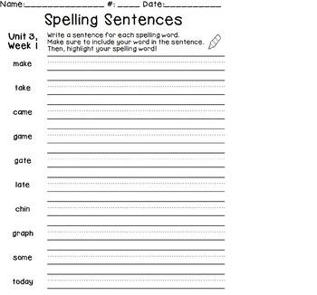 1st Grade WONDERS aligned Spelling Sentences Worksheets ...