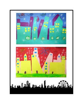 1st Grade Warm & Cool Cityscapes Lesson