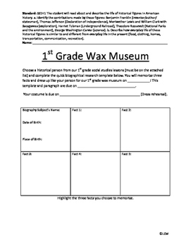 1st Grade Wax Museum Project Template
