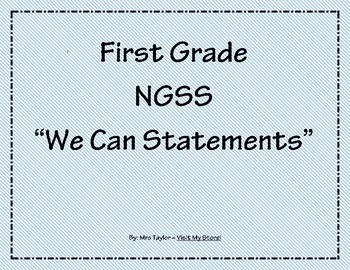 1st Grade We Can Statements