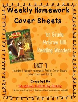 Reading Wonders - 1st Grade Weekly Homework Cover Sheets