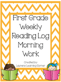 1st Grade Weekly Reading Log - Morning Work