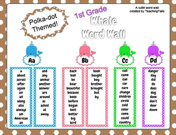 1st Grade Whale Themed Word Wall