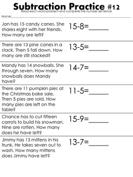 Subtraction Number Sentences: Winter Edition