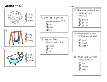 1st Grade Wonders 2.4 Test